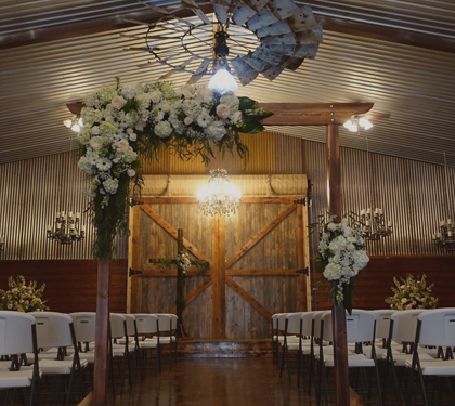 Inside of a wedding venue.