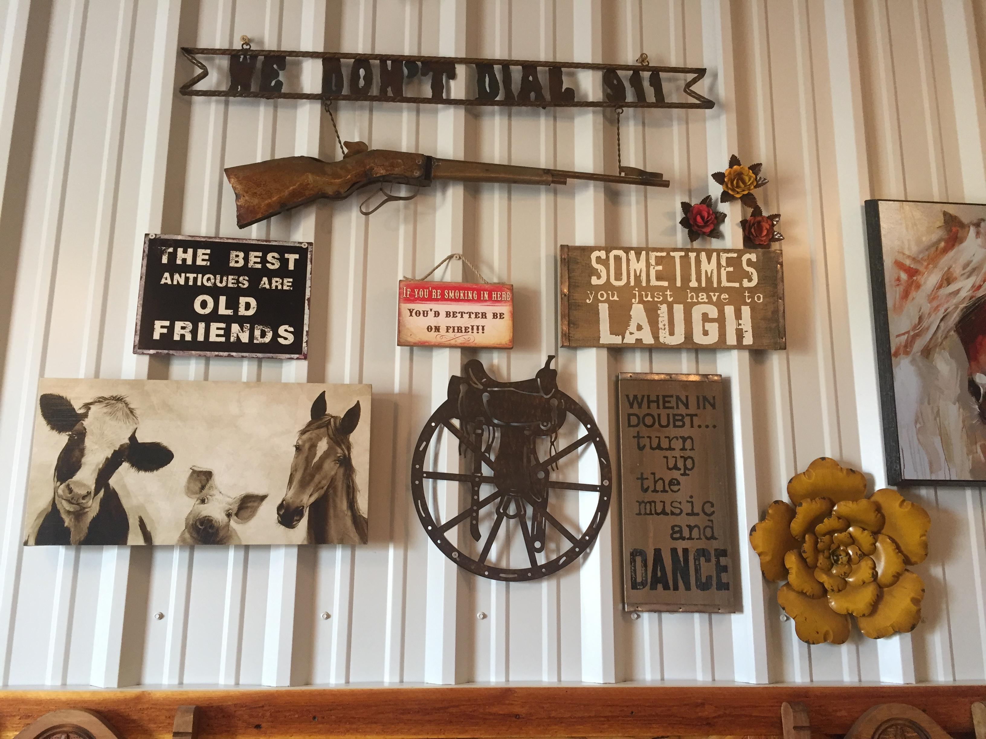 reception gun and assorted signs