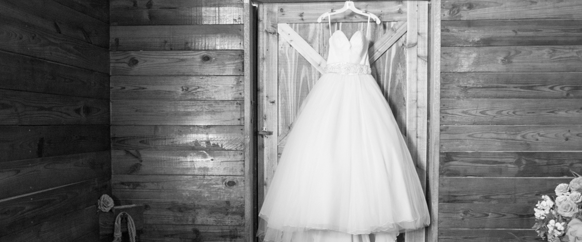 Wedding dress in grayscale.